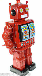 RED-MACHINE-GUN-CLASSIC-RETRO-TIN-TOY-D-CELL-ROBOT-COLLECTORS-CHRISTMAS-EDITION