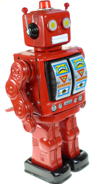 RED MACHINE GUN CLASSIC RETRO TIN TOY D CELL ROBOT COLLECTORS CHRISTMAS EDITION