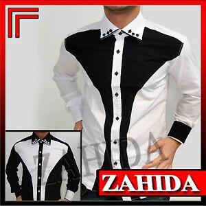 Langarm-Herren-Hemd-Hemden-Hochzeit-Fein-Business-Designer-Wow-S-M-L-XL-XXL-NEU