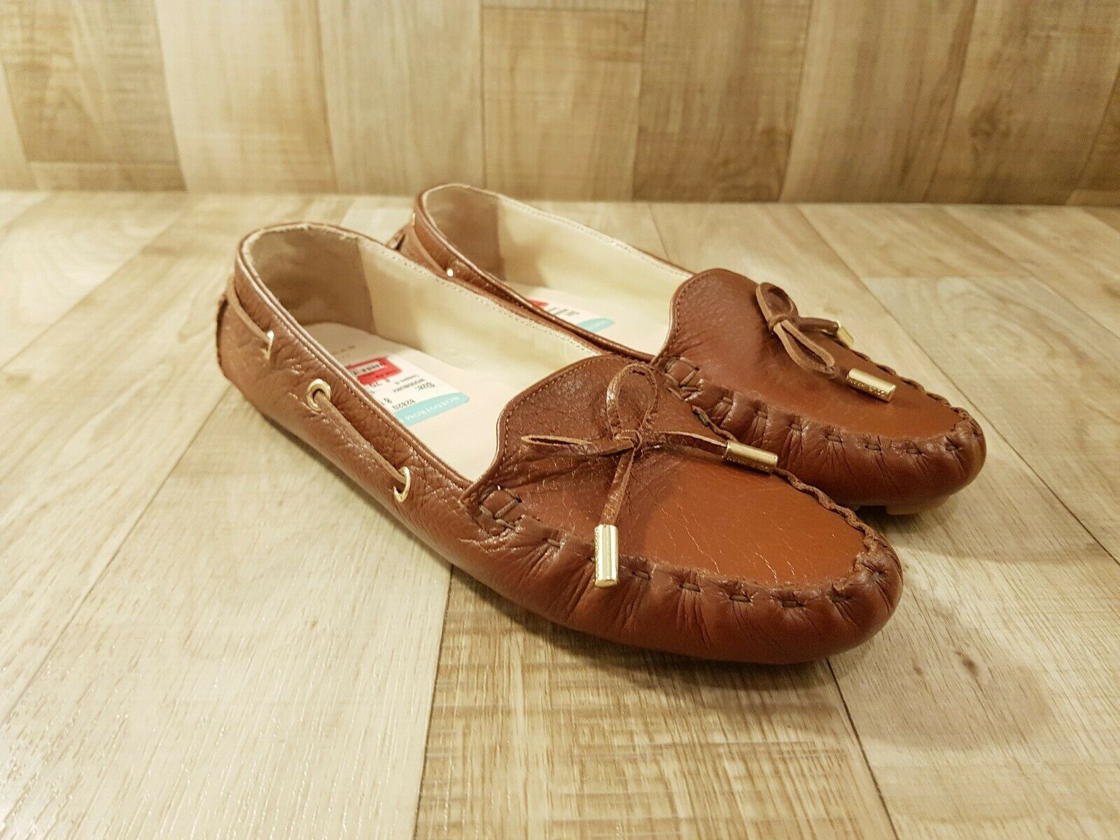 COLE HAAN Cary Chestnut Leather Slip On Drivers Moccasins Women's 8 B NICE