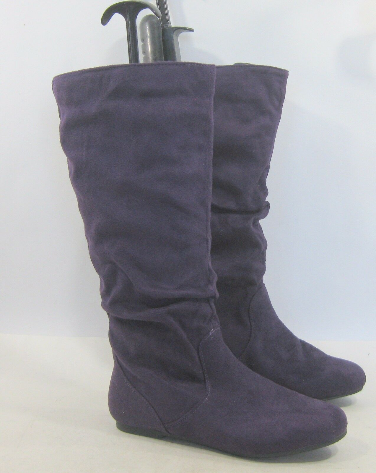 LADIES  NEW purple Flat Slouch Round Toe Sexy Knee Boot Size 5.5