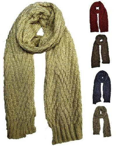 Warm Winter Scarf Long Wide Wrap Shawl Thick Woven Fall Knit Cable Loop Chunky