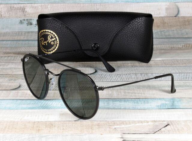 0f1667a1c96e6e Sunglasses Ray-Ban Rb3647n Round Double Bridge 002 58 51 Black Polarized  Green