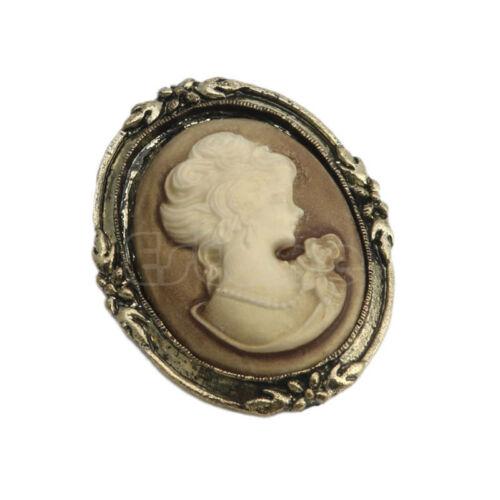 Black Enamel Bronze Vintage Victorien Design Queen Lady Cameo Brooch Pin