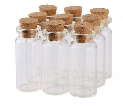 10x Small glass vials with Cork Tops 1.2ml Tiny bottles Little Empty jar