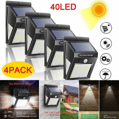 40 LED Solar Powered PIR Motion Sensor Light Outdoor Garden Security Wall Lights