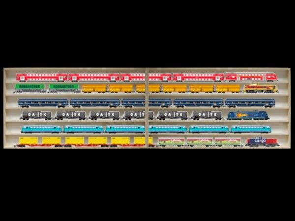2e16alr completo-vitrina de 3 m de largo ho estante con ranuras para pista h0 madera vitrina