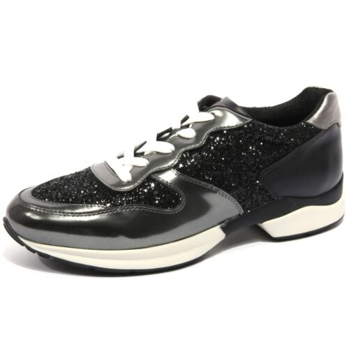 B1668 Tod's Woman Glitter Scarpa Shoe Sneaker grigio Donna Nero Active Scuro qAHrgxq