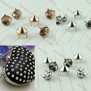 Metal Pyramid Round Studss Rivets Spikes Spots Punk For Leathercraft Silver Gold