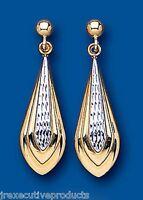 Two Colour Gold Drop Dangle Earrings Yellow Gold Drops White Gold Earrings