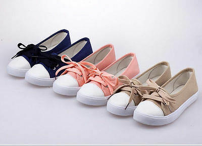 Korean  Womens  Sneakers Womens Casual Shoes Lace-up Leisure Shoes