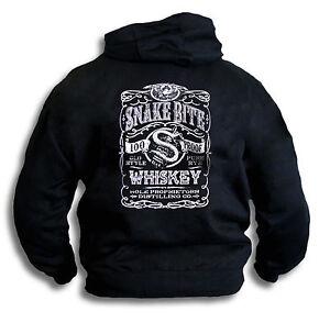SnakeBite-Old-Style-Pure-Rye-Whiskey-Label-Biker-Mens-Hoodie-Hooded-Top-Sm-2XL