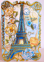 10 Punch Studio French Blue Eiffel Tower Note Cards. Die Cut. Just Beautiful