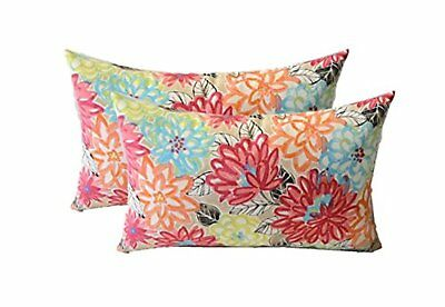 """24/"""" x 14/"""" Rectangle Creative Co-Op Floral Embroidered Accent Throw Pillow"""