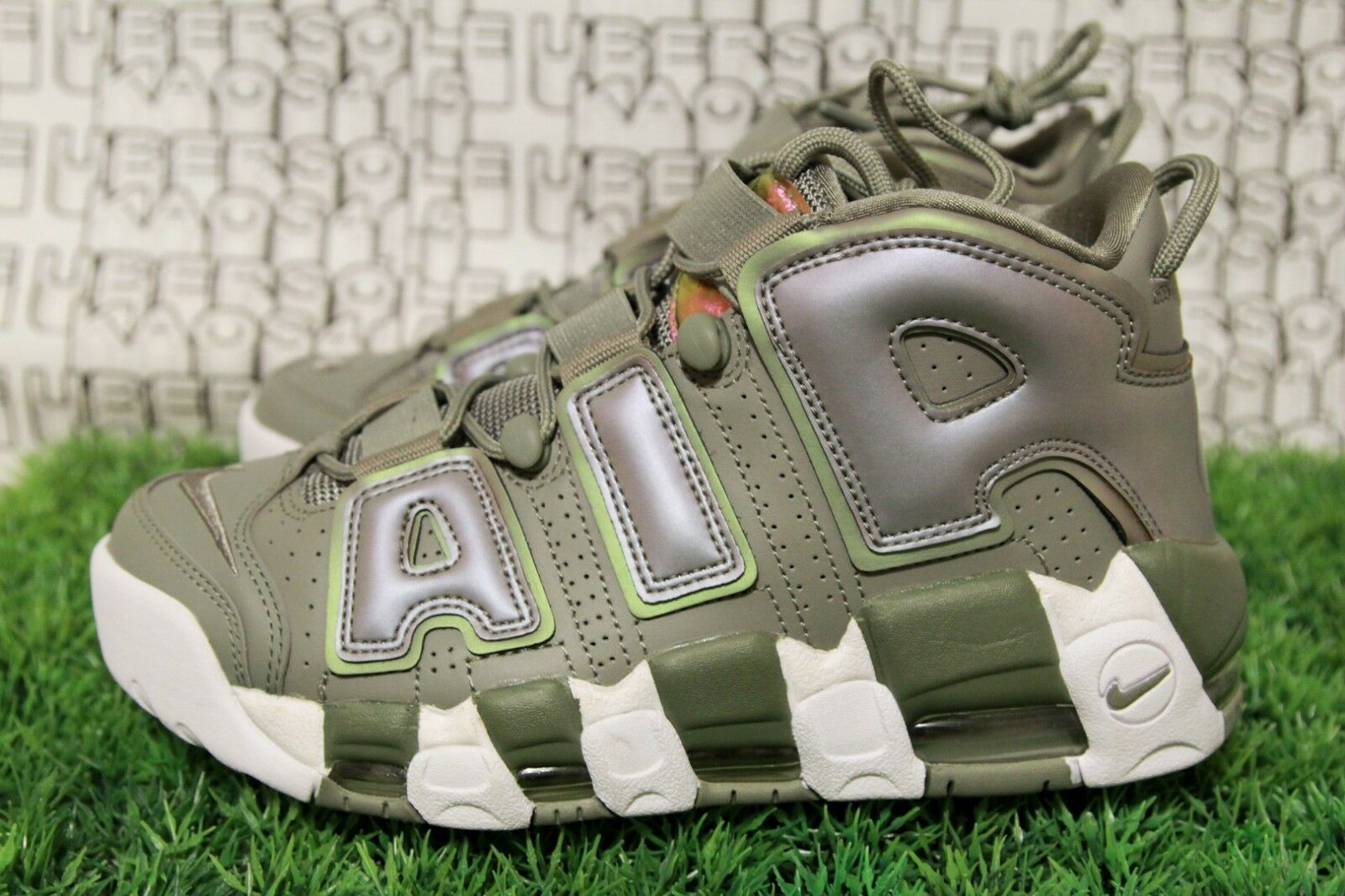 best sneakers 484db 587ae ... NEW Nike Uptempo White Iridescent WOMEN Green Stucco supreme 917593-001  qs WOMEN Iridescent 7.5 ... Nike Air More Uptempo Iridescent Unisex Dark ...