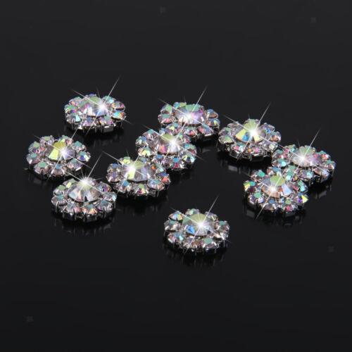10 AB Crystal Flower Bead Flatback Scrapbooking Craft Embellishment DIY 12mm