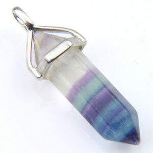 100-Genuine-Rainbow-Fluorite-Gemstone-Silver-Hexagonal-Column-Necklace-Pendants