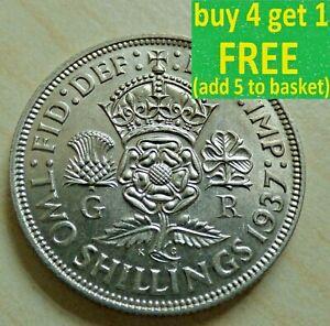George VI Florin/deux Shillings argent pièces choisissez votre date 1937-1951...