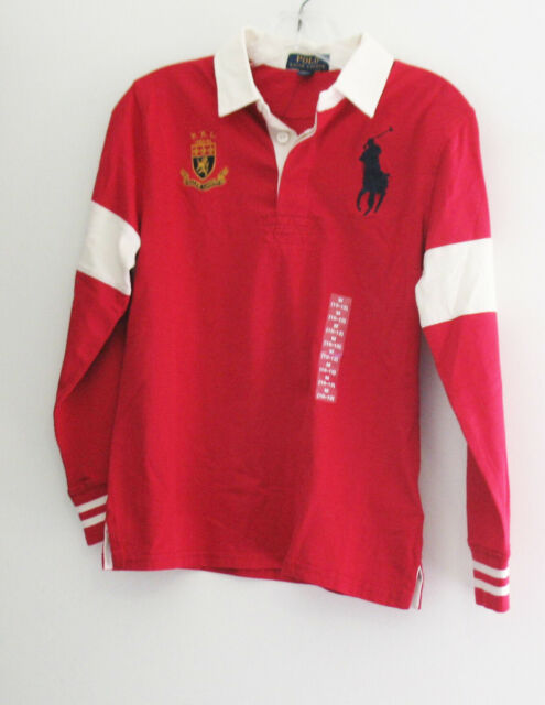 Polo Ralph Lauren Boys Red Big Pony Long Sleeve Rugby Polo Shirt