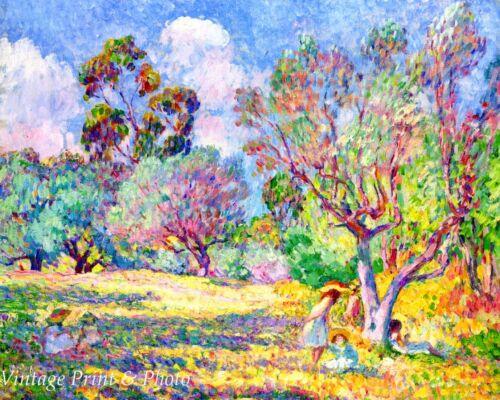 Children in a Meadow by Henri Lebasque Art Impressionist Sunny 8x10 Print 0668