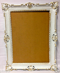 Picture Frame White Gold Baroque Wedding Frame Antique 90x70 Picture
