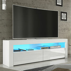 tv rack fernsehschrank lowboard sideboard hochglanz weiss schwarz mit led 157 ebay. Black Bedroom Furniture Sets. Home Design Ideas