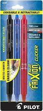 Pilot Frixion Clicker Erasable Gel Pen Quality Writing Colors Marker Pens 3 Pack