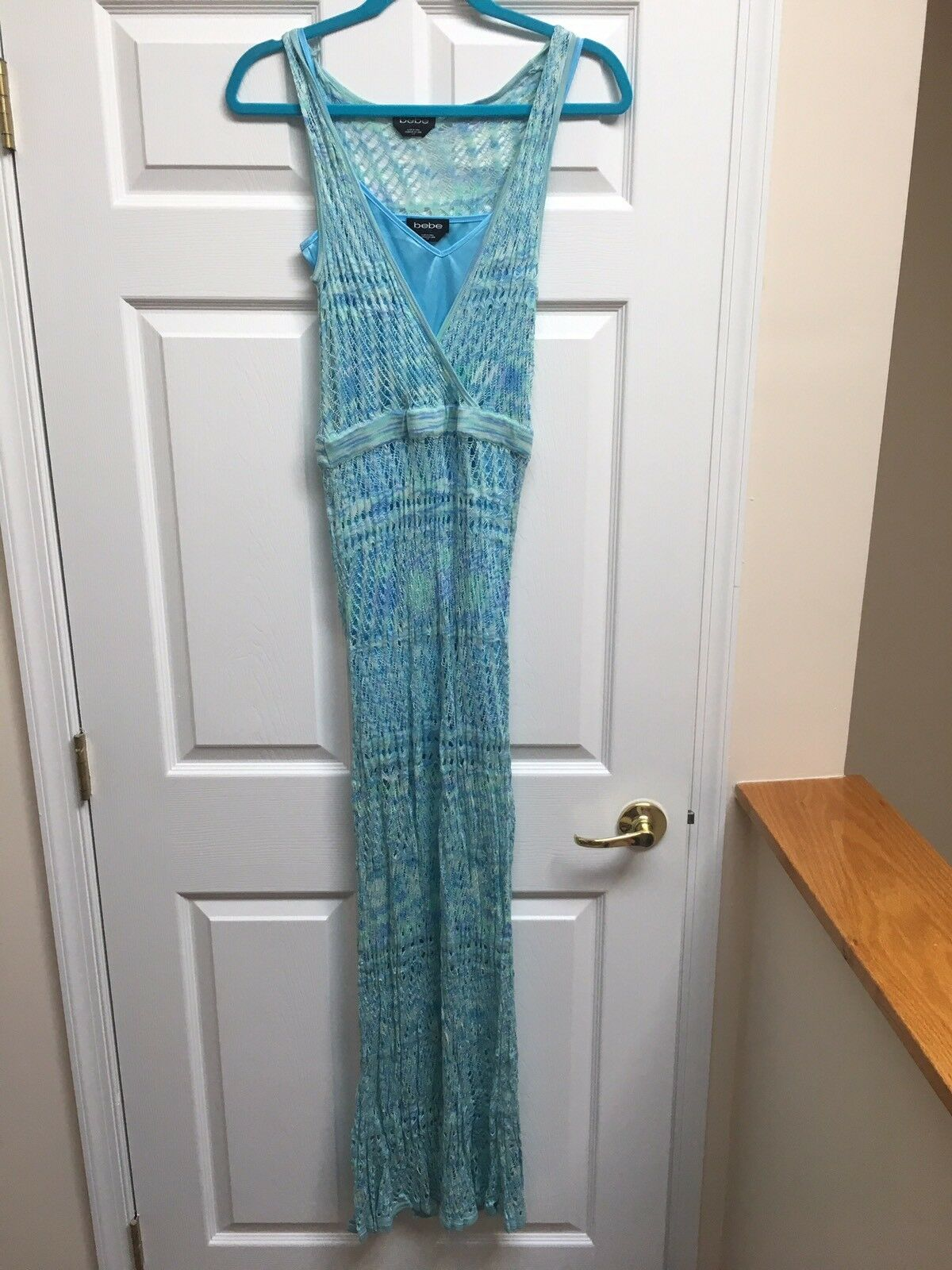 Bebe Women's Maxi Dress bluee Turquoise Pointelle Knit Space Dye Size Small S NWT