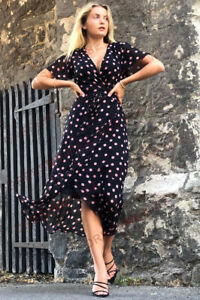 Wallis Schwarz & Pink Spot Wrap gefüttert Midi Kleid mit Gürtel