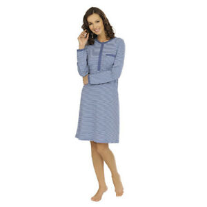 6994af2cc4 Image is loading Comtessa-LADIES-COTTON-NIGHT-GOWN-STRIPED-Nightwear-Night-