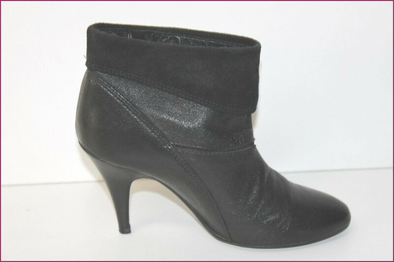 MANGO Boots Leather Boots Black Revers T 36 VERY GOOD CONDITION