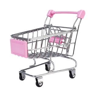 Mini Shopping Cart Storage Desktop Organizer Phone Pen Holder Kids Toy Pink