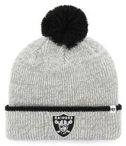 20b263b4c6b61e OAKLAND RAIDERS '47 BRAND NFL (FAIRBANKS CUFF) GRAY KNIT POM BEANIE ...