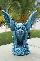 Gargoyle Concrete Statue Patina Blue Stone Yard Decor Garden Gothic Winged