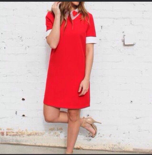 English Factory rot Oui Lace Collar Dress Größe Medium