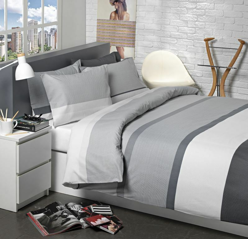 grau & Weiß Stripe Bedding grau STRIPE Duvet Cover Set