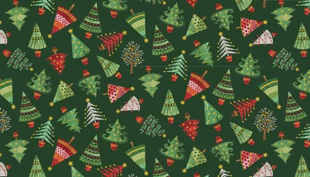 Christmas TREES on dark green Cotton fabric Size 55 cm x 50 cm larger available