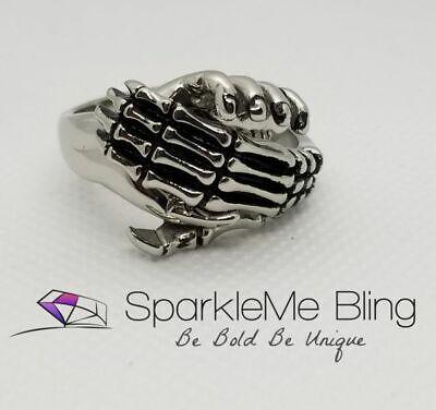 Men/'s Stainless Steel Ring Skull Skeleton Hand Finger Bone Gothic Vintage Silver