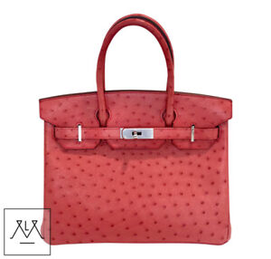 Image is loading Hermes-Birkin-Bag-30cm-Bougainvillea-Red-Ostrich-Skin- f0f41d67e5c9