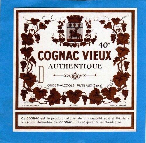 COGNAC ANCIENNE LITHOGRAPHIE COGNAC VIEUX AUTHENTIQUE 40°   §15//02//17§