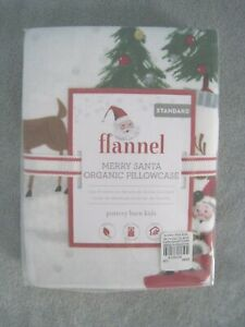 New Pottery Barn Kids Organic Merry Santa Flannel Standard