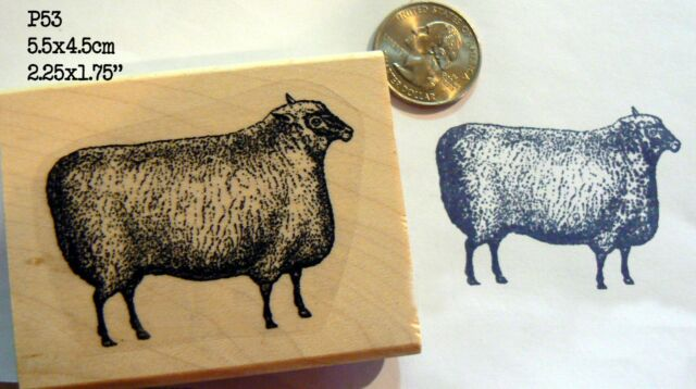 Sheep vintage styled rubber stamp WM P53