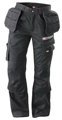 "FACOM TOOLS BLACK Multi Pocket WORK TROUSERS - Size: L (34"") - Made by Dickies"