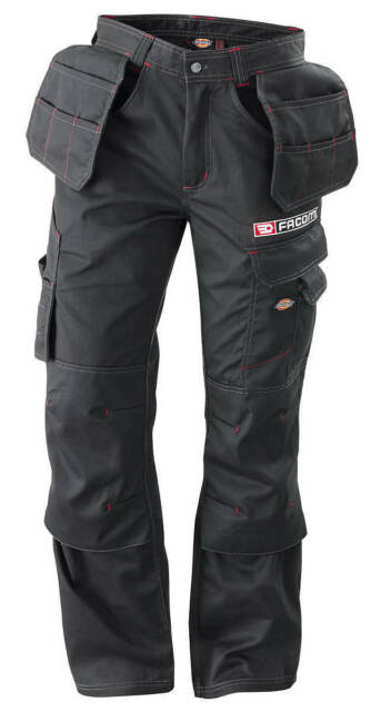 """FACOM TOOLS BLACK Multi Pocket WORK TROUSERS - Size: L (34"""") - Made by Dickies"""