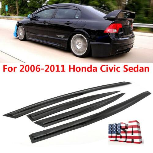 For 06-11 Civic Mugen II Style Window Rain Guard Visors 4drs Sedan Honda JDM SI