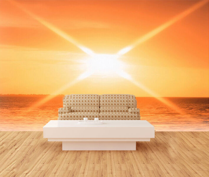 3D Sunset sun orange Wall Paper wall Print Decal Wall Deco Indoor wall Mural