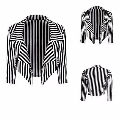 Ladies Womens Black /& White Striped Cropped Waterfall Coat Casual Jacket Blazer.