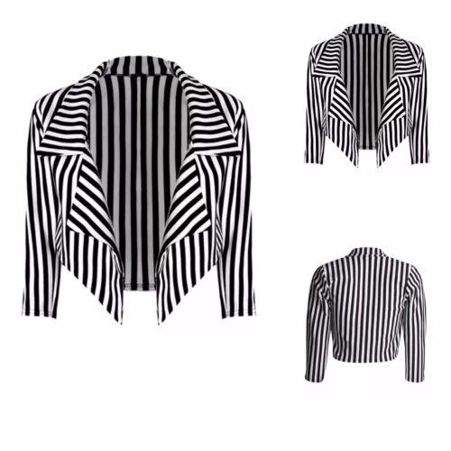 Ladies Womens Black /& White Striped Cropped Waterfall Coat Casual Jacket Blazer