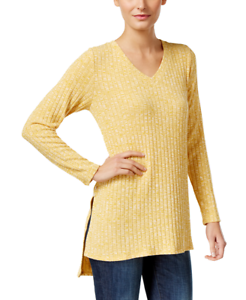Style-amp-Co-Womens-Ribbed-High-Low-Tunic-Saffron-Yellow