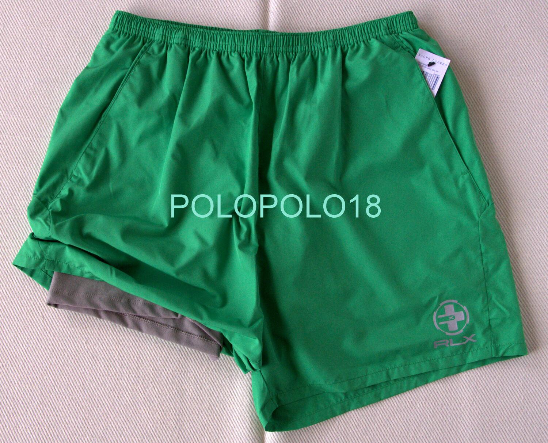 New Ralph Lauren RLX Logo Two Layer Shorts Athletic Green L XL